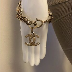 Chanel gold tone bracelet with crystals
